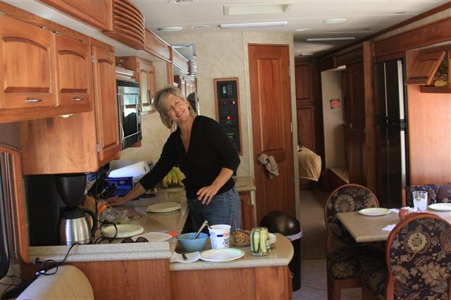 Sallie making the lunch