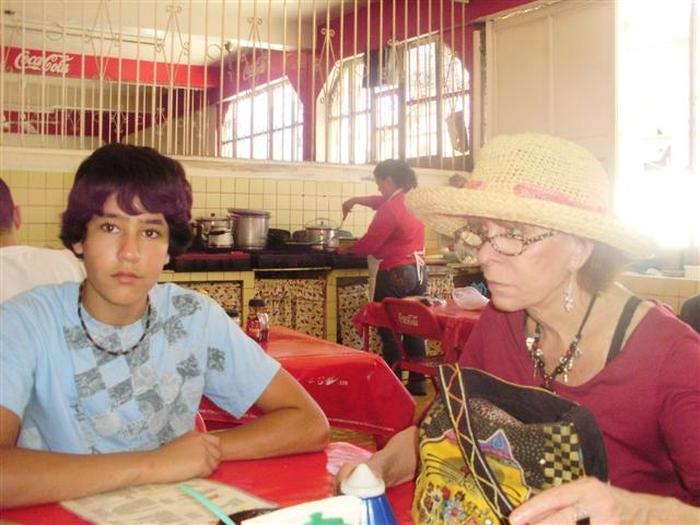 Waiting for our meal at the Mercado