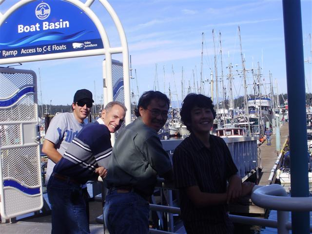 Mitchell, Larry, Ken and Andrew checking out the boats
